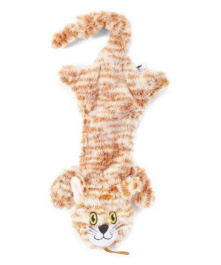 Steel Dog Flat Cat with Rope Dog Toy, Orange Striped