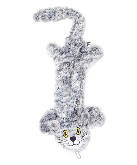Steel Dog Flat Cat with Rope Dog Toy, Grey