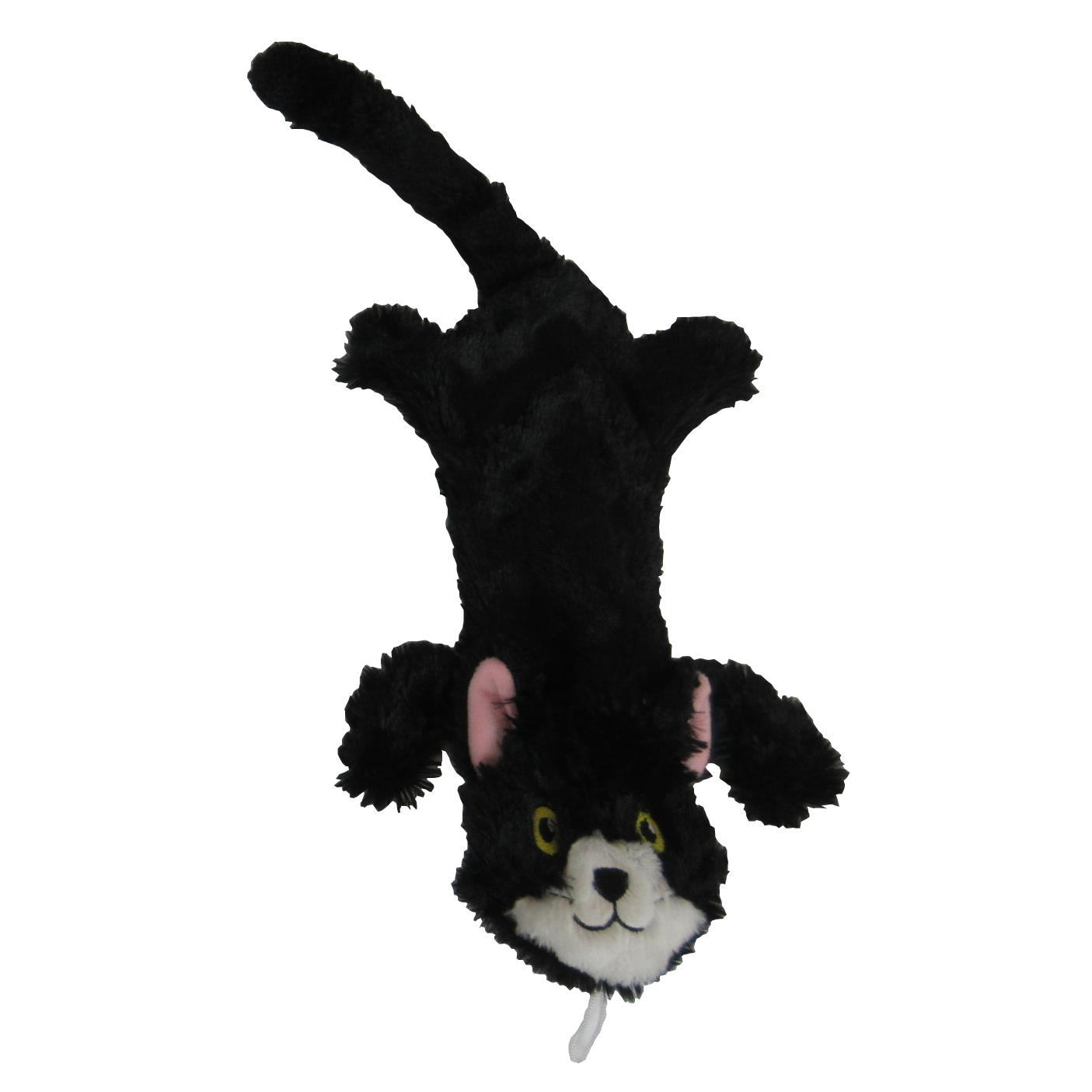 Steel Dog Flat Cat with Rope Dog Toy, Black