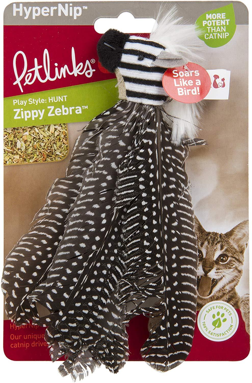 Petlinks HyperNip Zippy Zebra Feather Cat Toy
