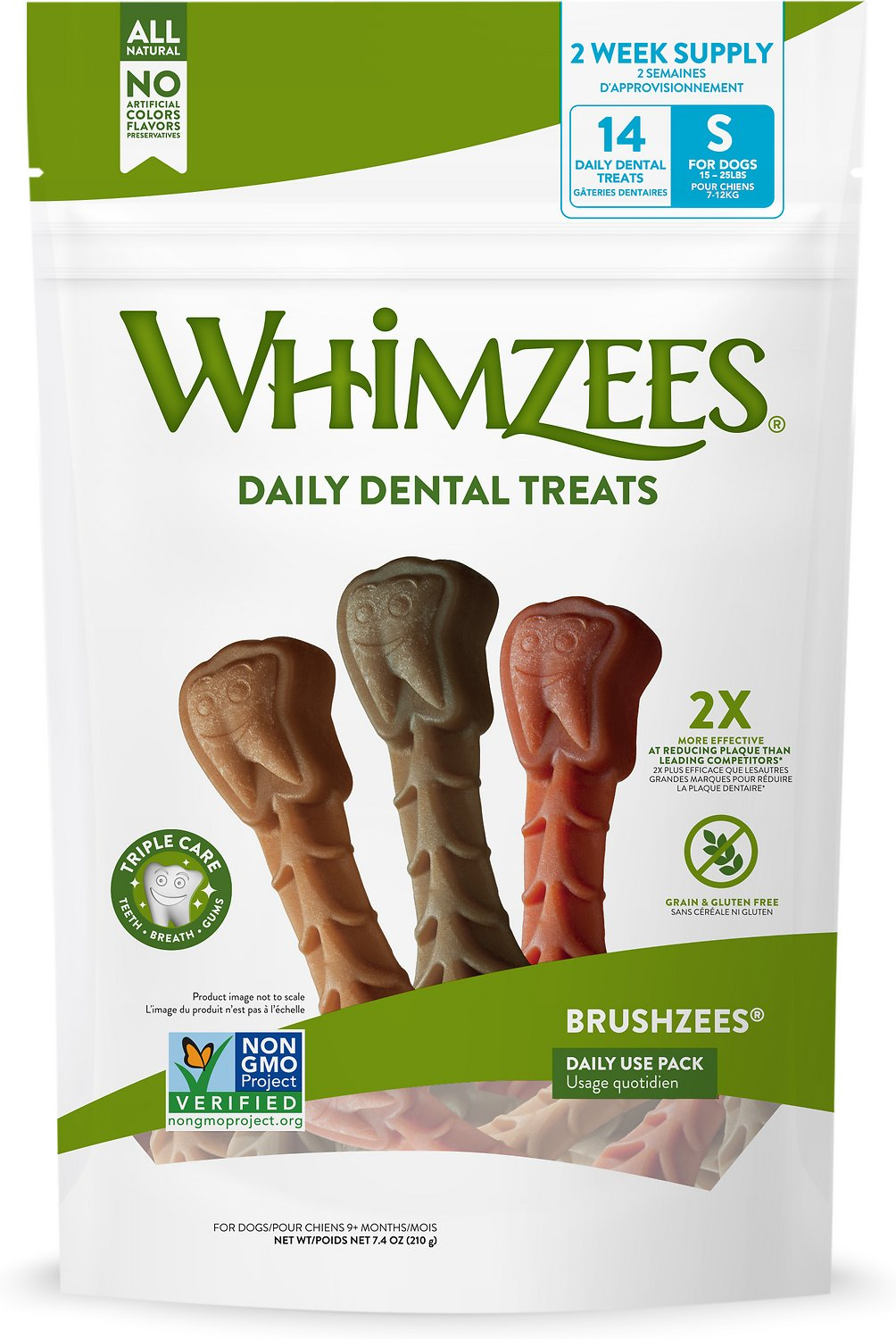 WHIMZEES Brushzees Dental Dog Treats, Small, 14 count