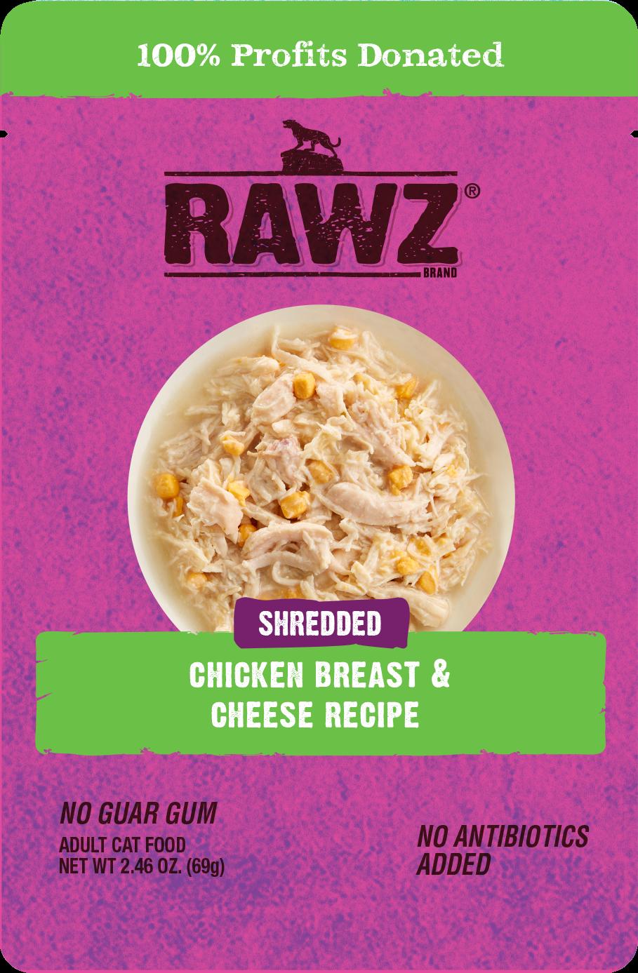 Rawz Shredded Chicken Breast & Cheese Recipe Wet Cat Food, 2.46-oz