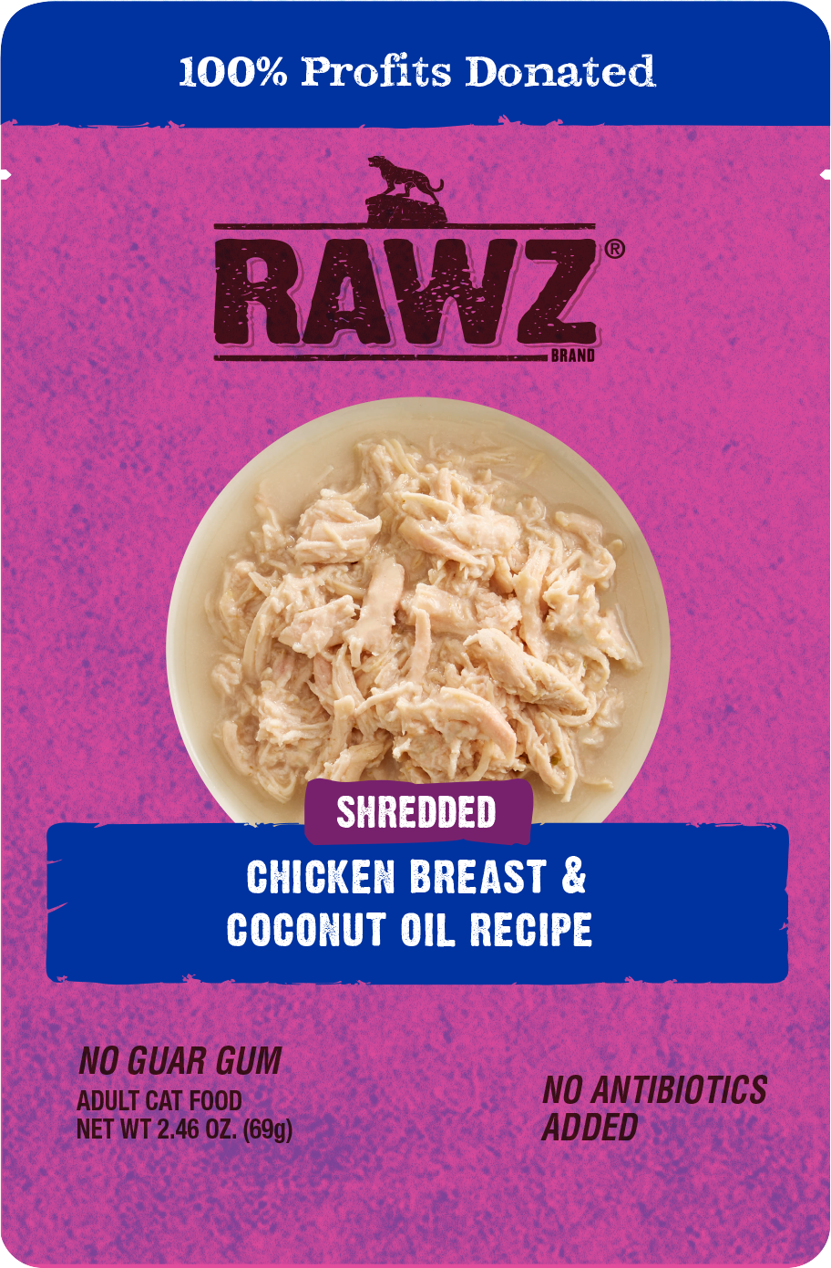 Rawz Shredded Chicken Breast & Coconut Oil Recipe Wet Cat Food, 2.46-oz