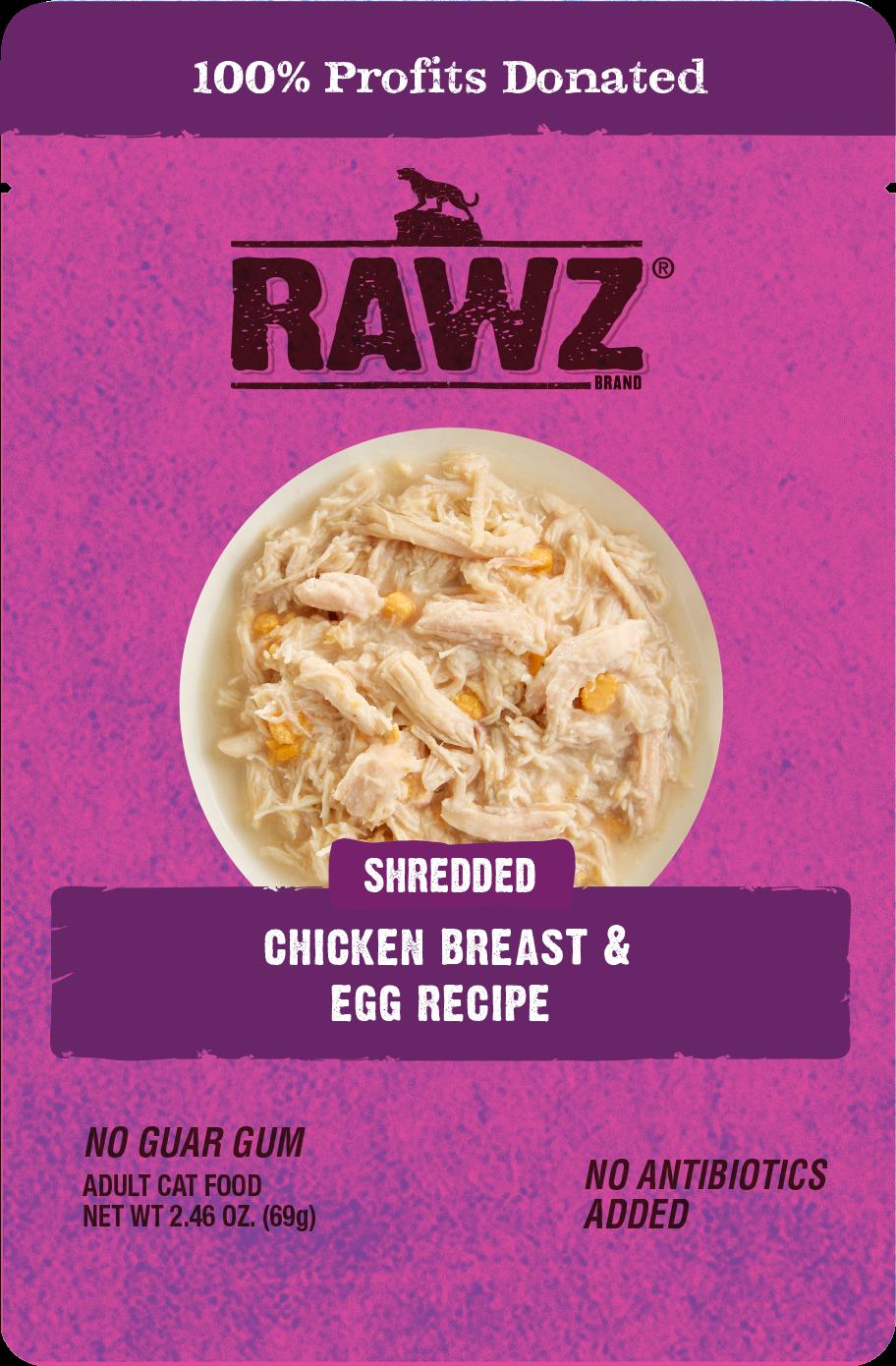 Rawz Shredded Chicken Breast & Egg Recipe Wet Cat Food, 2.46-oz