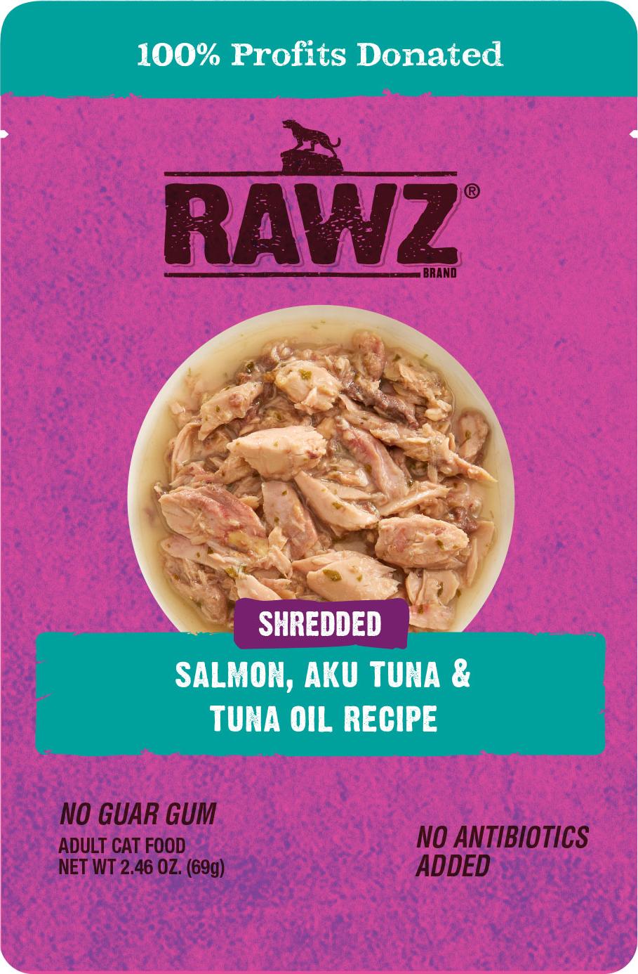 Rawz Shredded Salmon, Aku Tuna & Tuna Oil Recipe Wet Cat Food, 2.46-oz
