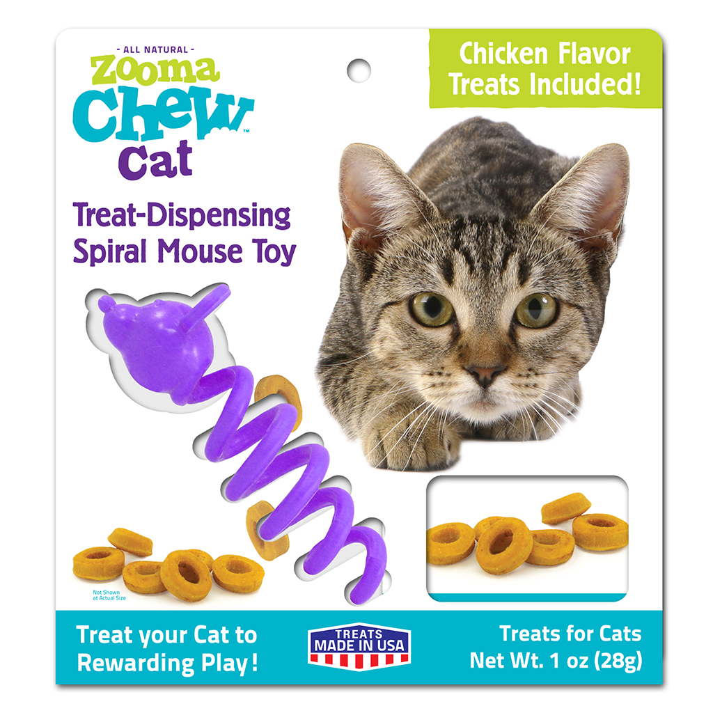 Zooma Chew Treat-Dispensing Spiral Mouse Cat Toy