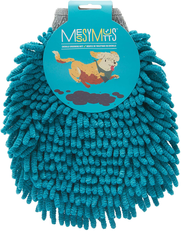 Messy Mutts Chenille Microfiber Grooming Dog Mitt, Blue
