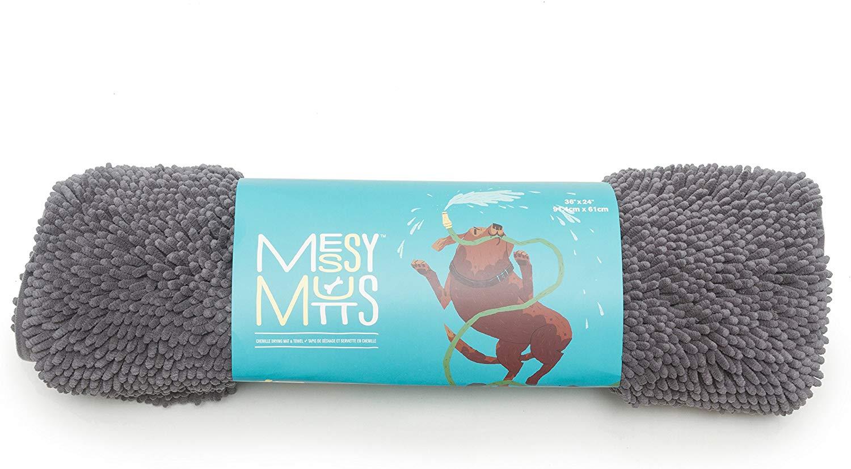 Messy Mutts Microfiber Drying Dog Mat, Cool Grey, Medium