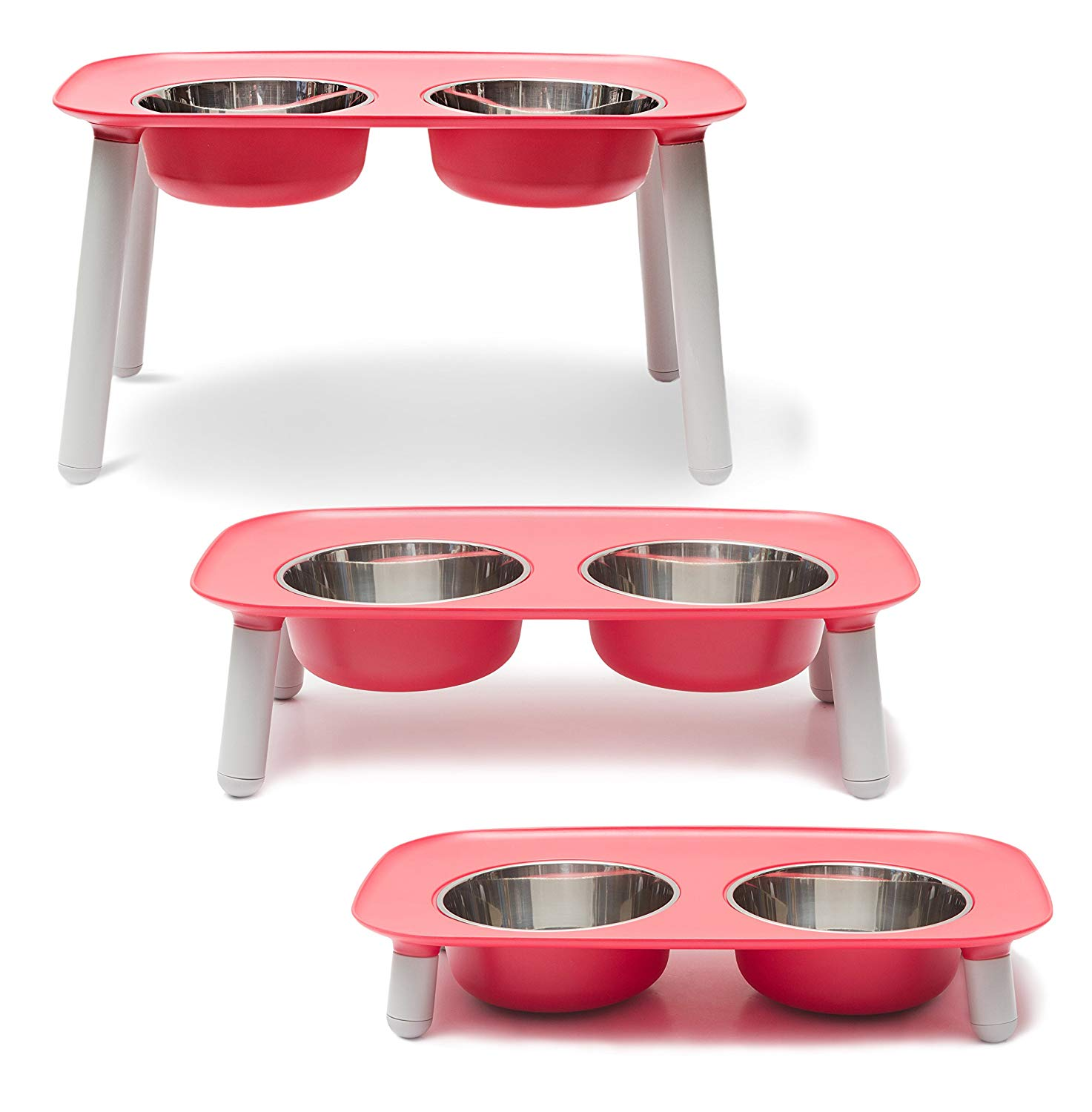 Messy Mutts Elevated Double Feeder Dog Bowl, Red