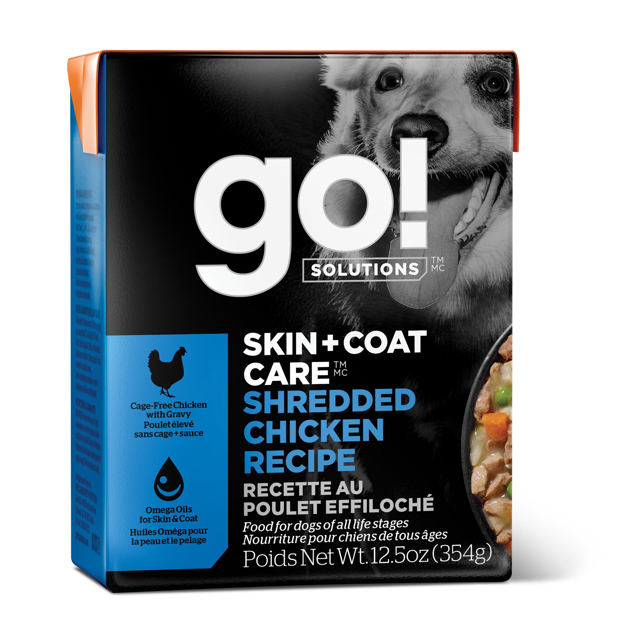 Go! Solutions Skin + Coat Care Shredded Chicken Wet Dog Food, 12.5-oz