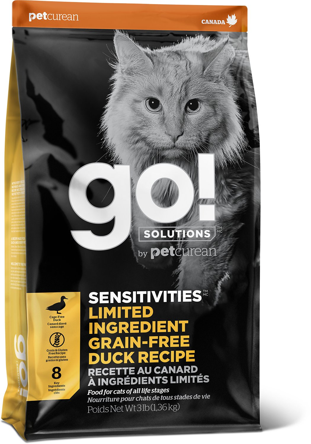 Petcurean Cat Go! Solutions Sensitivities Limited Ingredient Duck Grain-Free Dry Cat Food, 3-lb