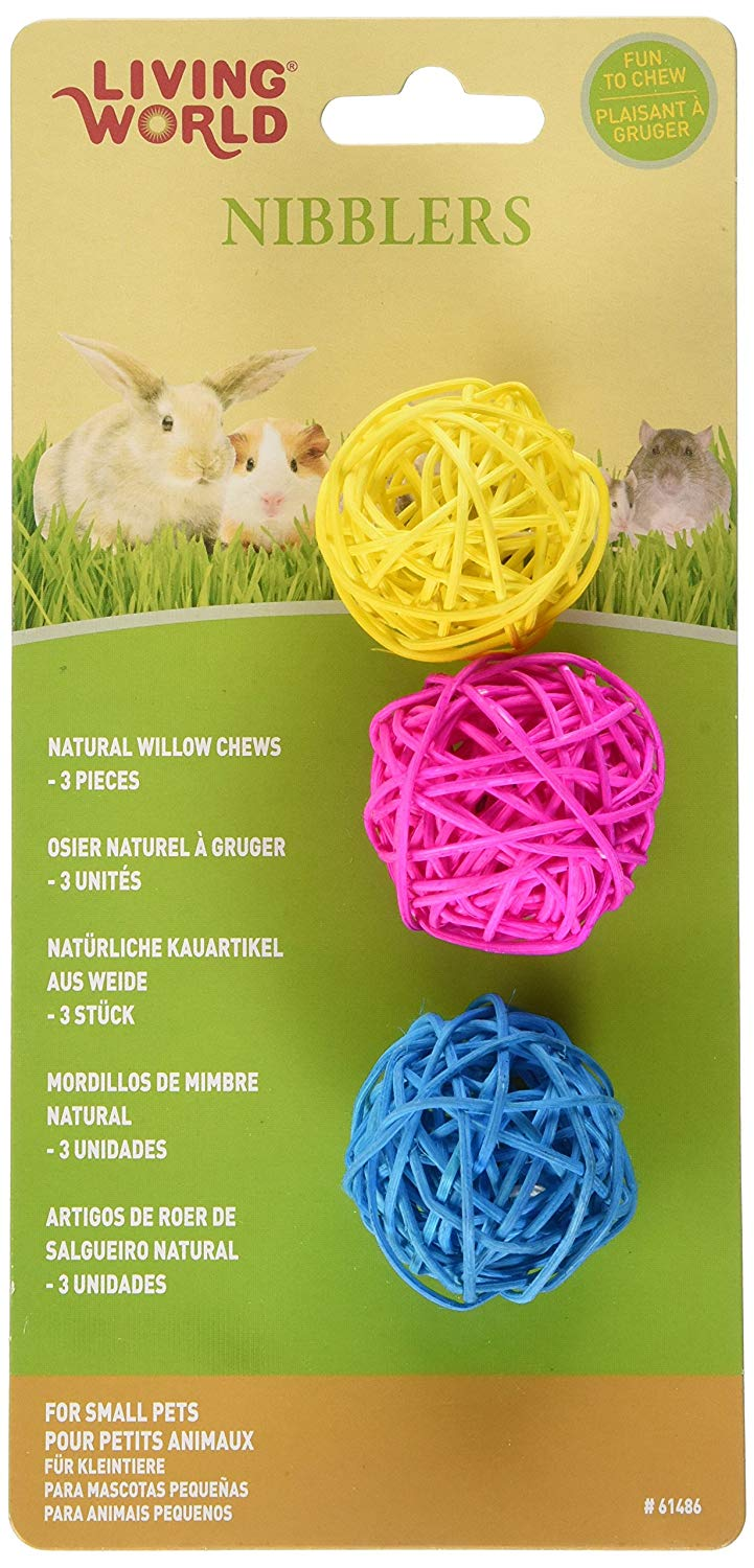 Living World Nibblers Willow Chew Balls Small Animal Toy, 3-pk