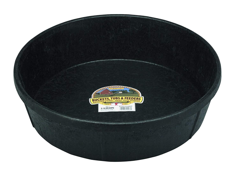 Miller Little Giant DuraFlex Rubber Livestock Feeding Pan, Black, 3-gallon