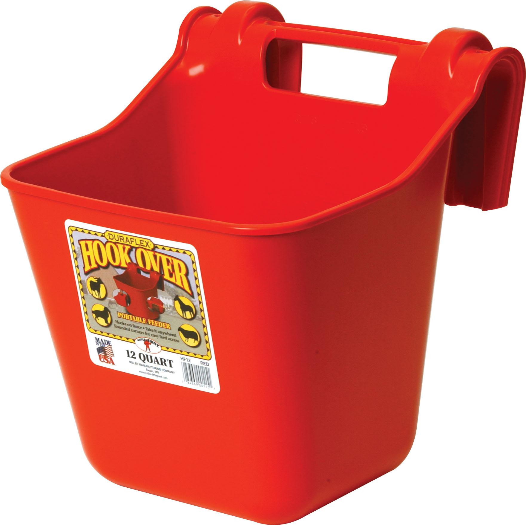 Miller Little Giant DuraFlex Hook Over Portable Livestock Feeder, Red, 12-qt