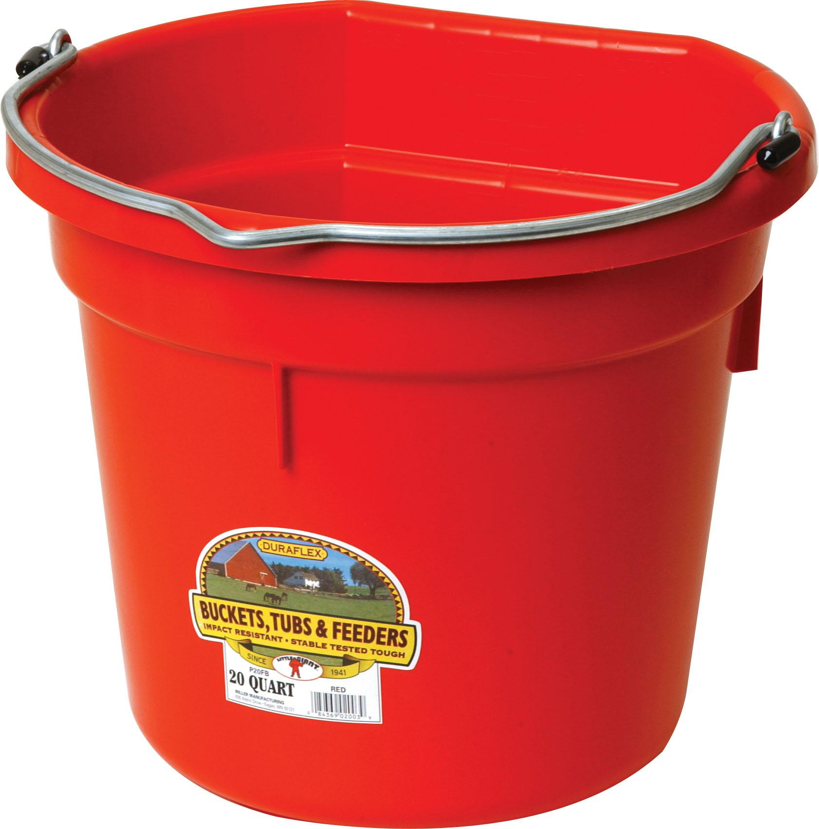Miller Little Giant DuraFlex Flat-BackLivestock Bucket, Red, 20-qt