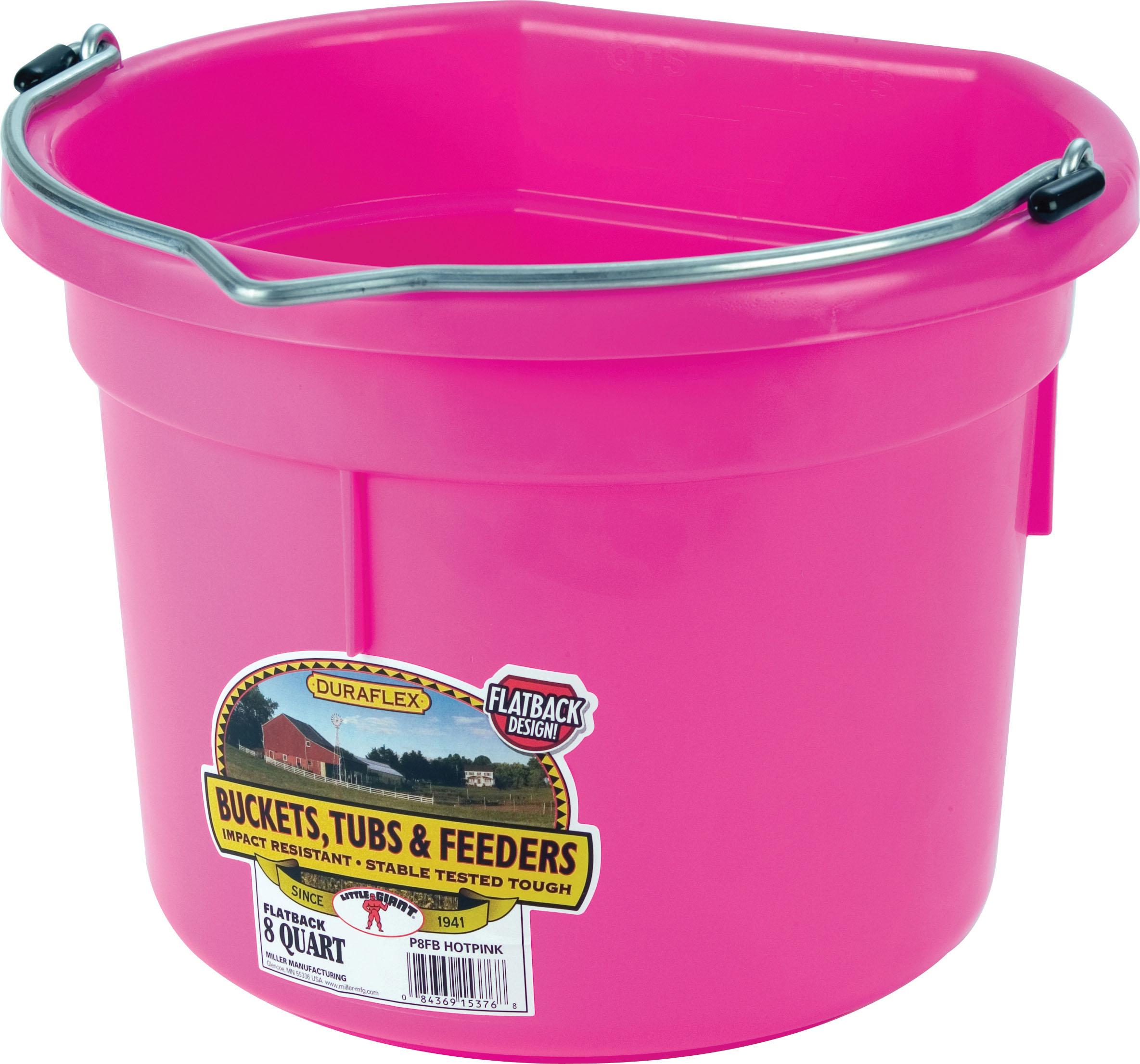Miller Little Giant DuraFlex Flat-BackLivestock Bucket, Hot Pink, 8-qt