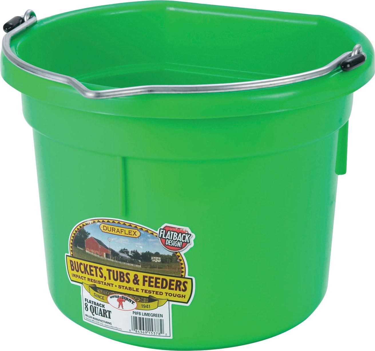 Miller Little Giant DuraFlex Flat-BackLivestock Bucket, Lime Green, 8-qt