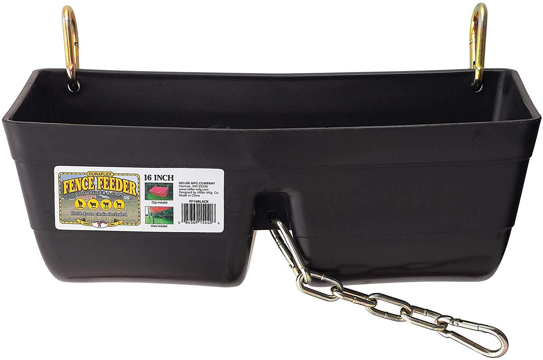 Miller Little Giant DuraFlex Fence Feeder with Clips for Livestock, Black Image