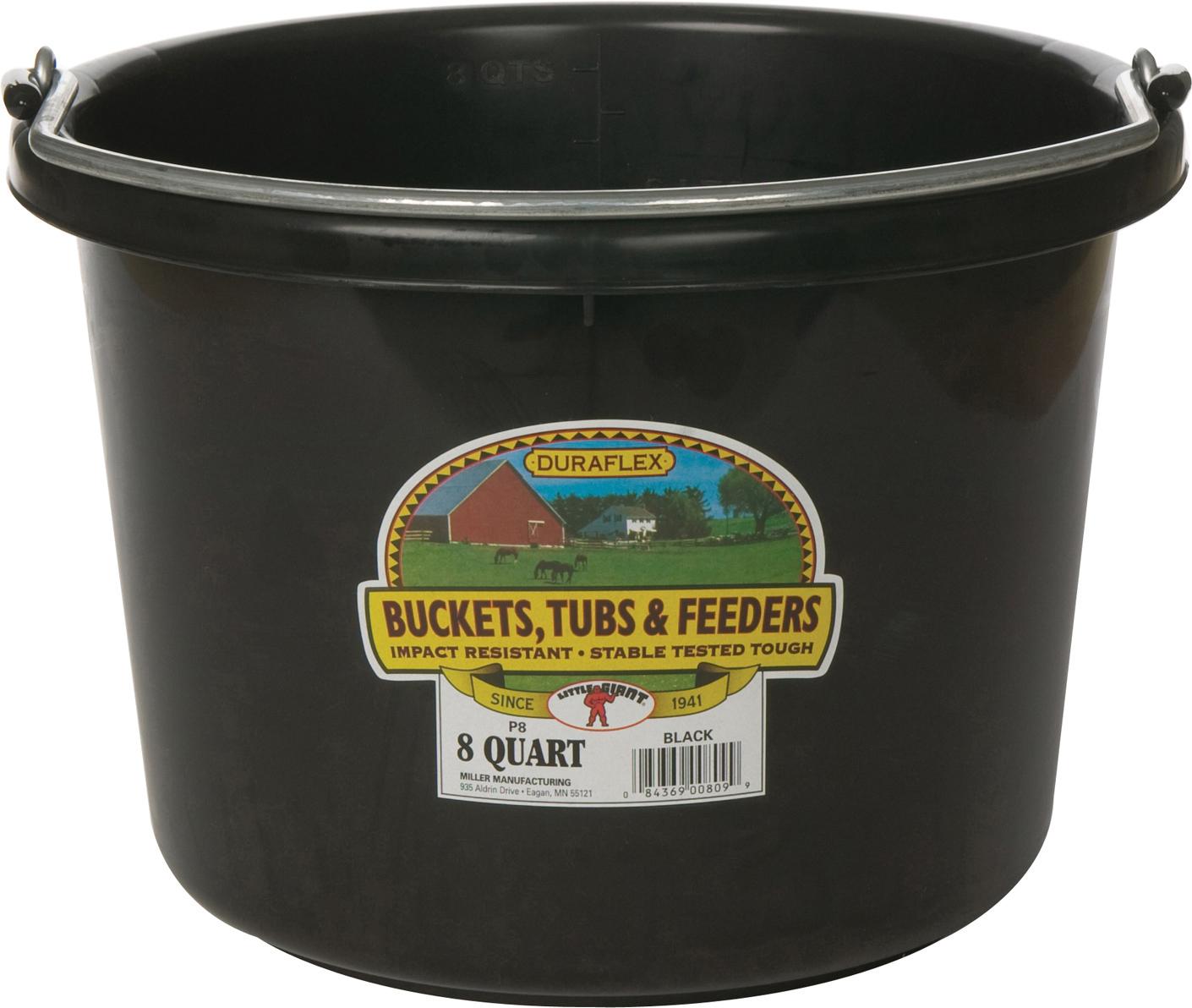 Miller Little Giant Plastic Livestock Bucket, Black, 8-qt