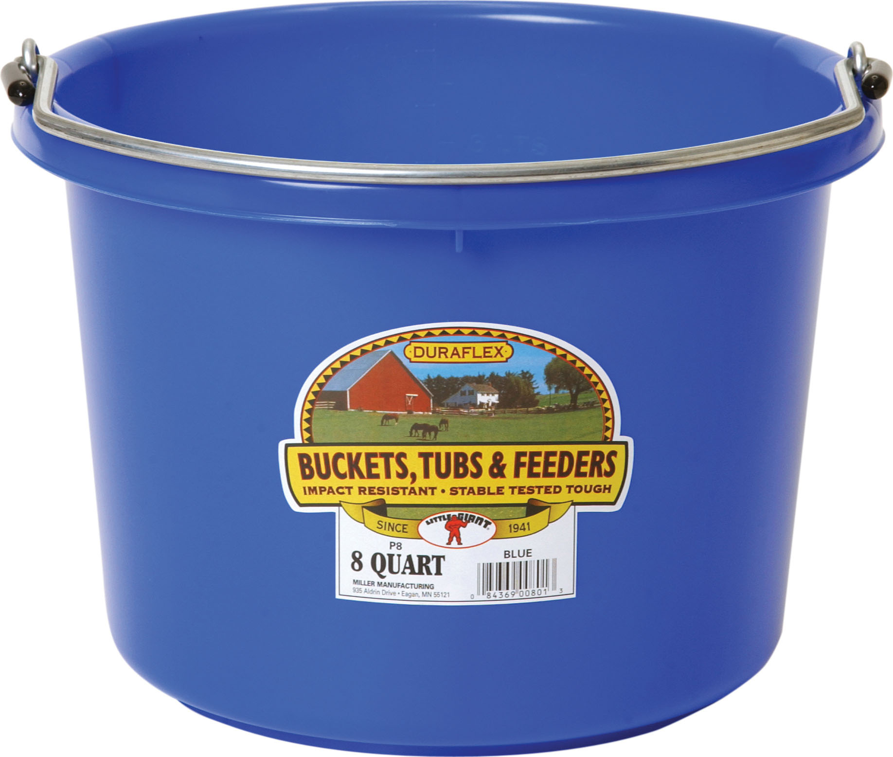 Miller Little Giant Plastic Livestock Bucket, Blue, 8-qt