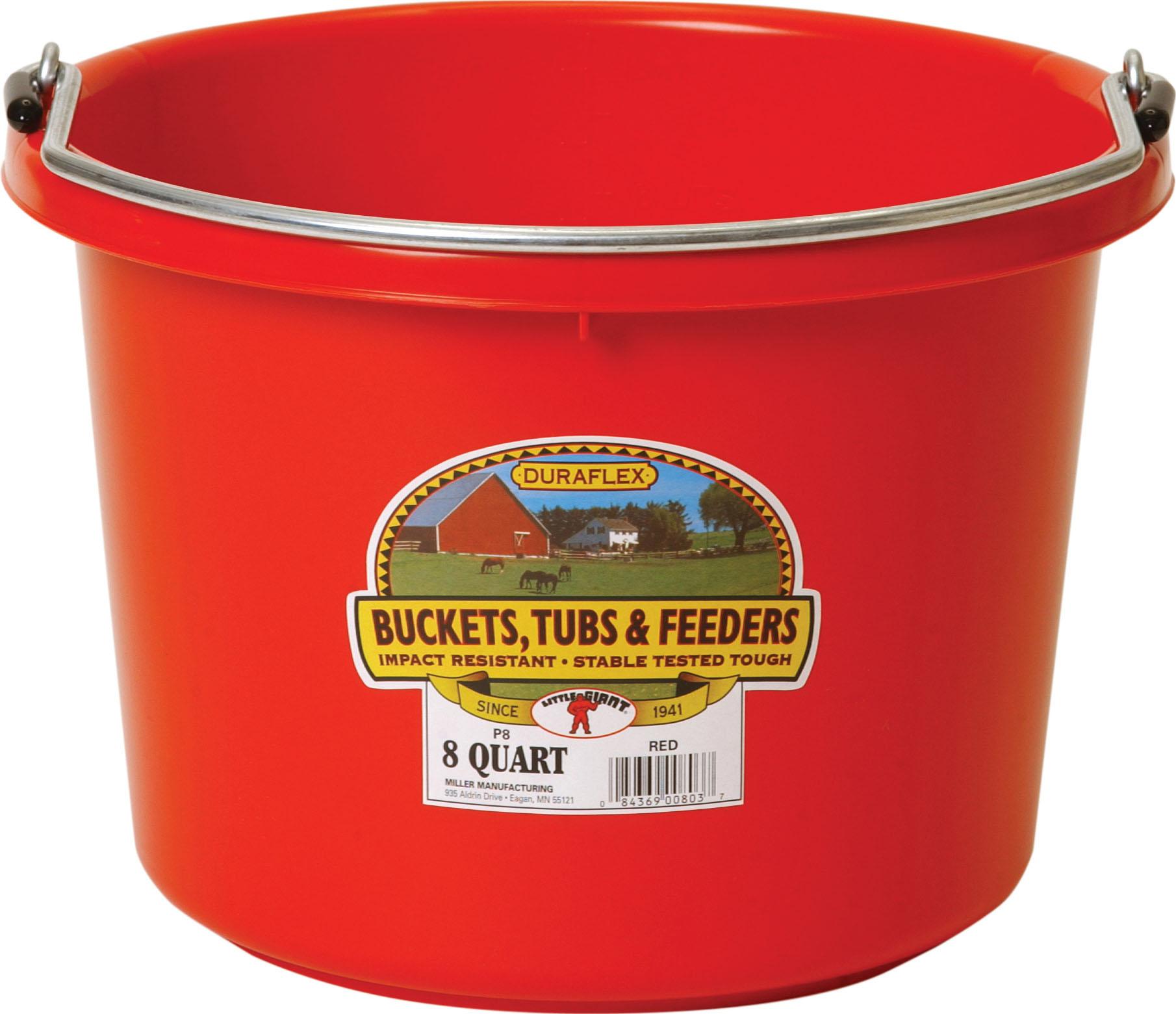 Miller Little Giant Plastic Livestock Bucket, Red, 8-qt