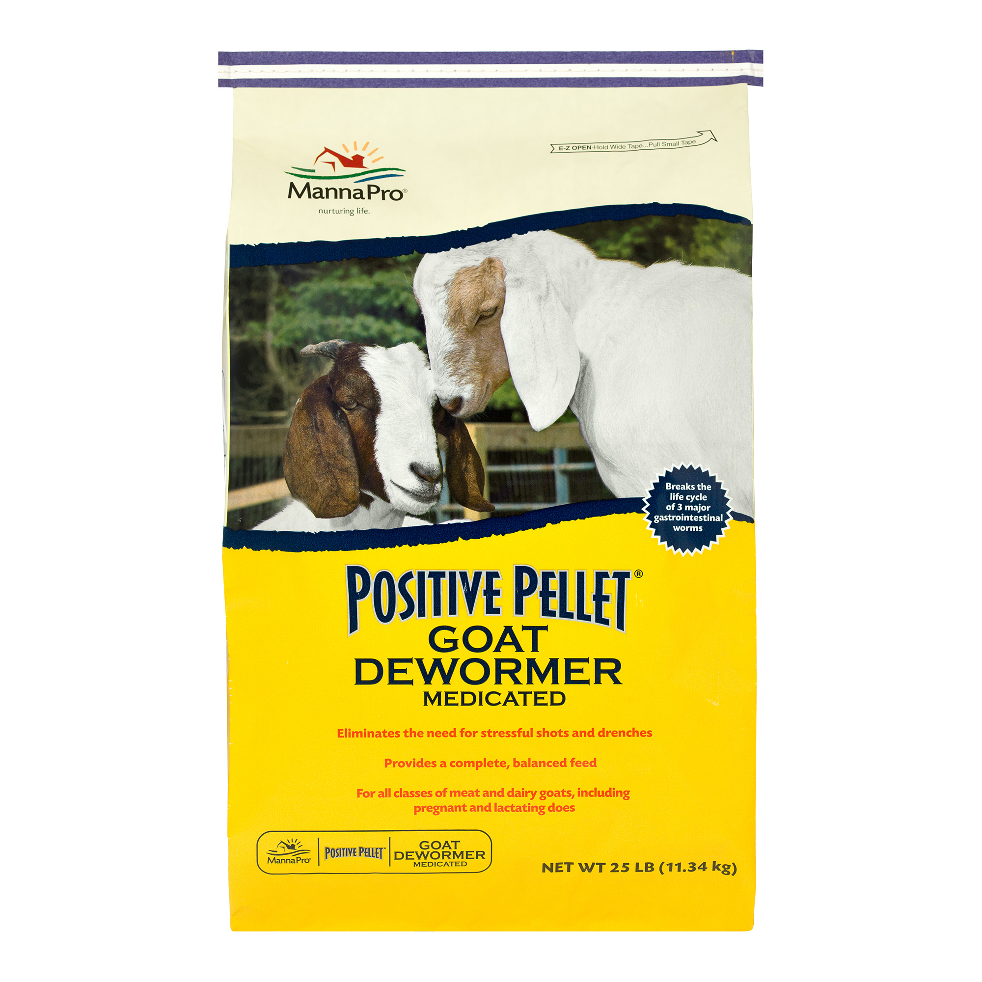 Manna Pro Positive Pellet Dewormer Medicated Goat Feed, 6-lb