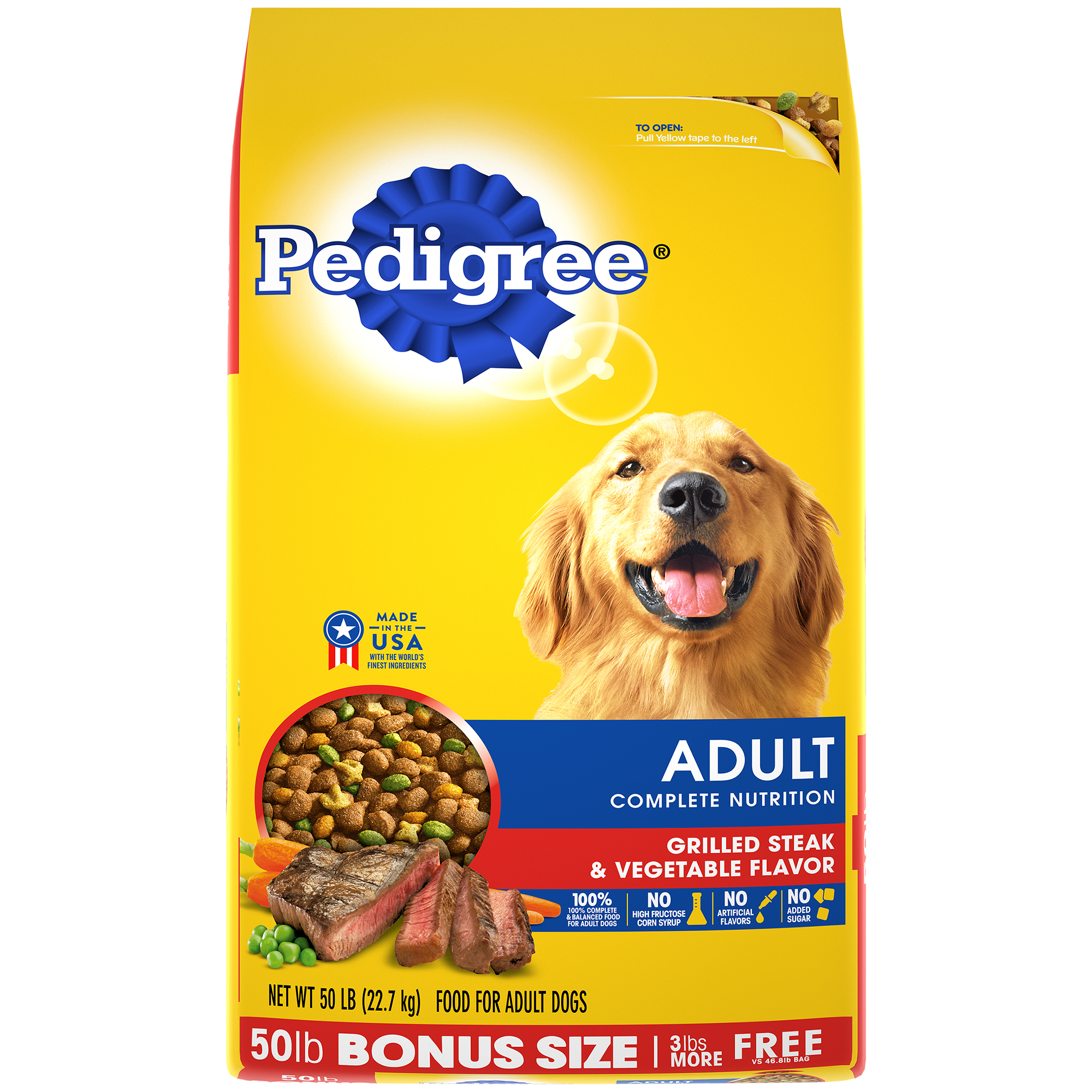 Pedigree Adult Complete Nutrition Grilled Steak & Vegetable Flavor Dry Dog Food, 50-lb