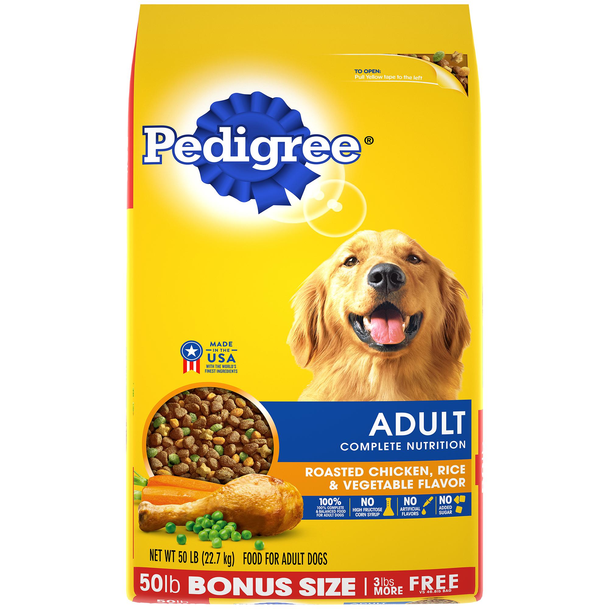 Pedigree Adult Complete Nutrition Roasted Chicken, Rice & Vegetable Flavor Dry Dog Food, 50-lb