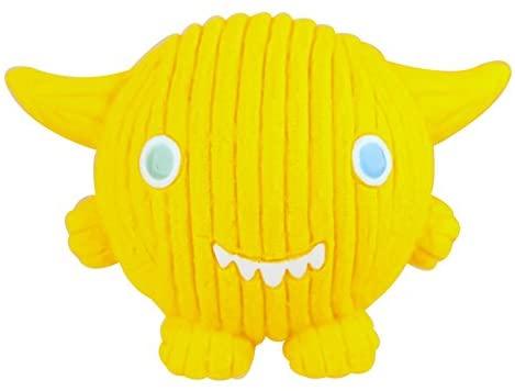 HuggleHounds Squeaky Ruff-Tex Monstah Lemondrop Kid Dog Toy, Yellow, Large