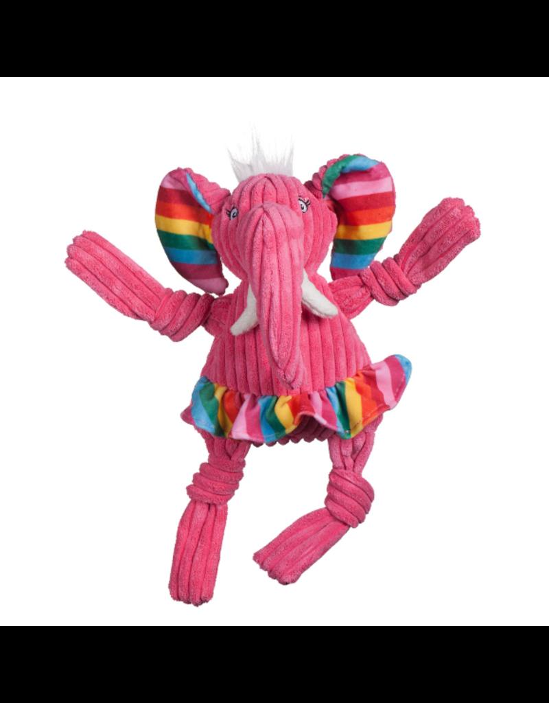 HuggleHounds Knottie Rainbow Elephant Plush Dog Toy, Large