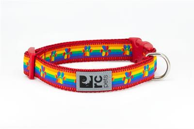 RC Pet Products Clip Dog Collar, Rainbow Paws, Small