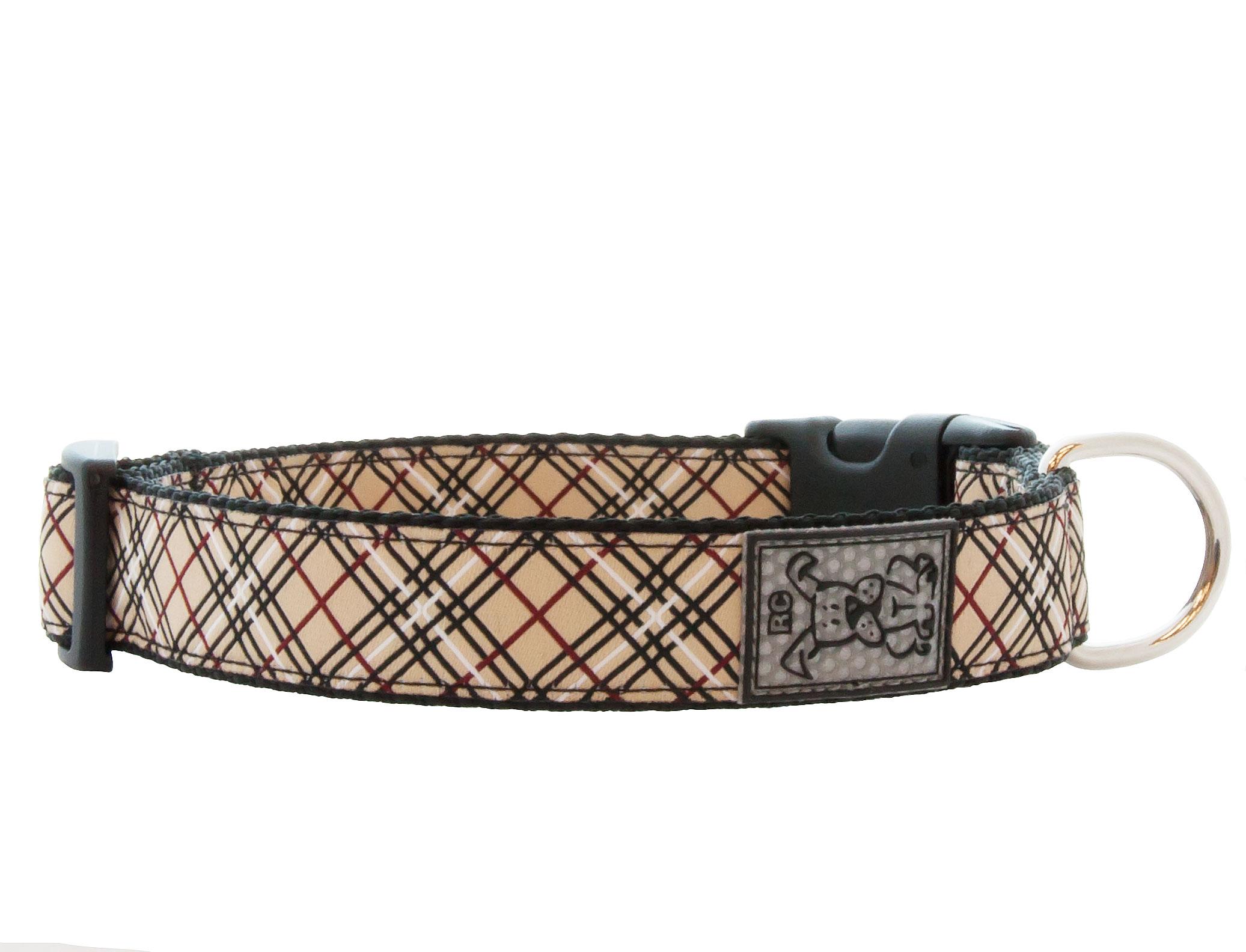 RC Pet Products Clip Dog Collar, Tan Tartan, Large