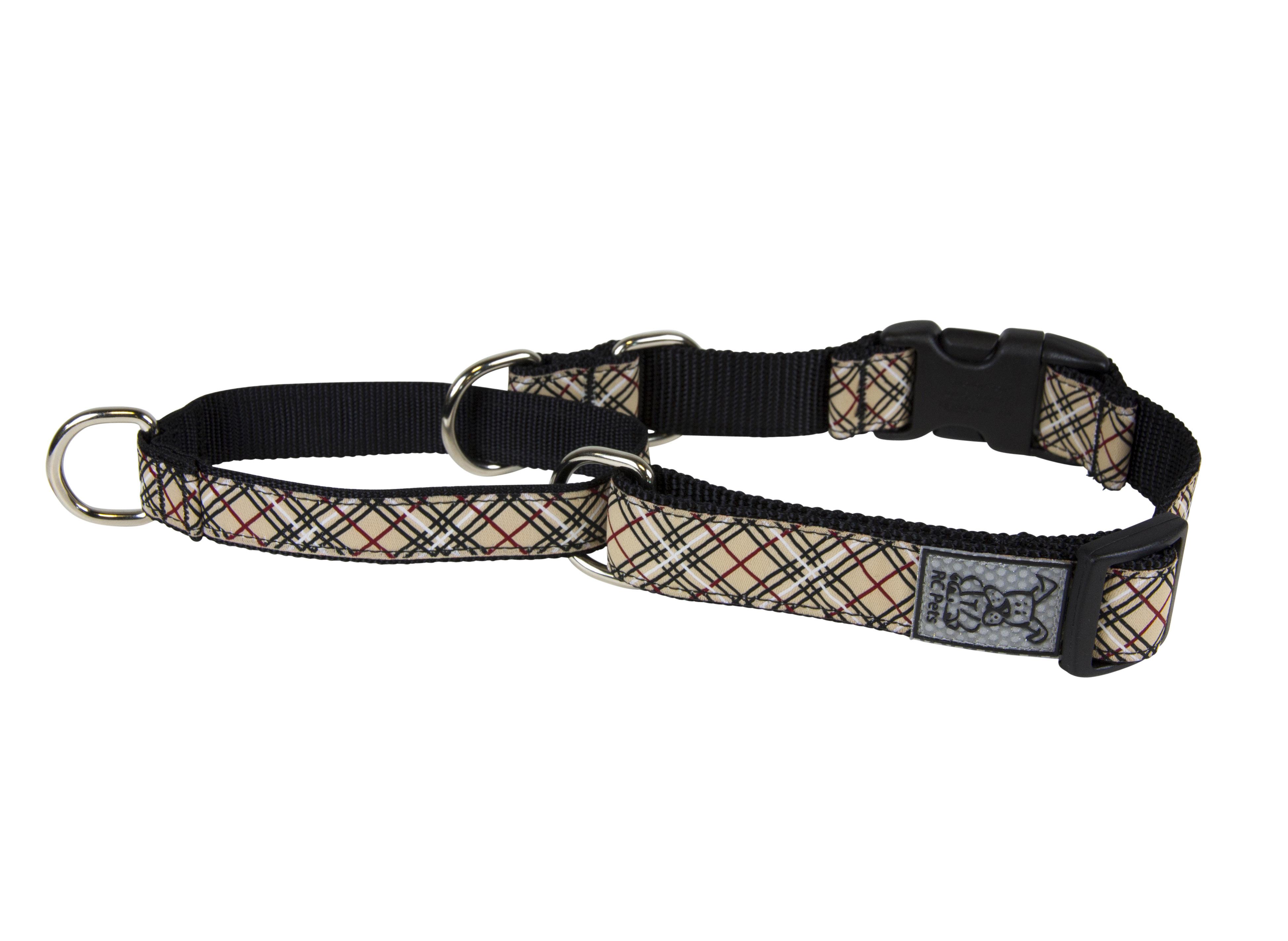 RC Pet Products Clip Web Training Dog Collar, Tan Tartan, Medium