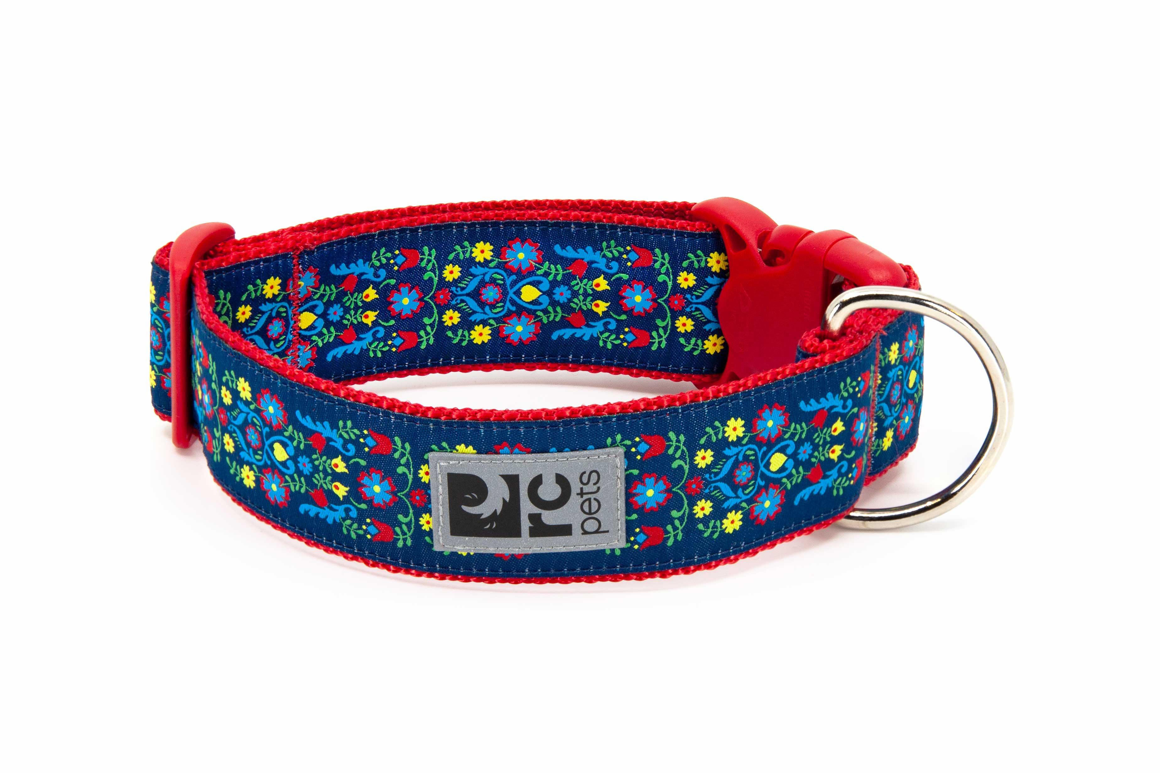 RC Pet Products Wide Clip Dog Collar, Feeling Folksy, Medium