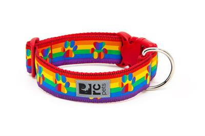 RC Pet Products Wide Clip Dog Collar, Rainbow Paws, X-Small