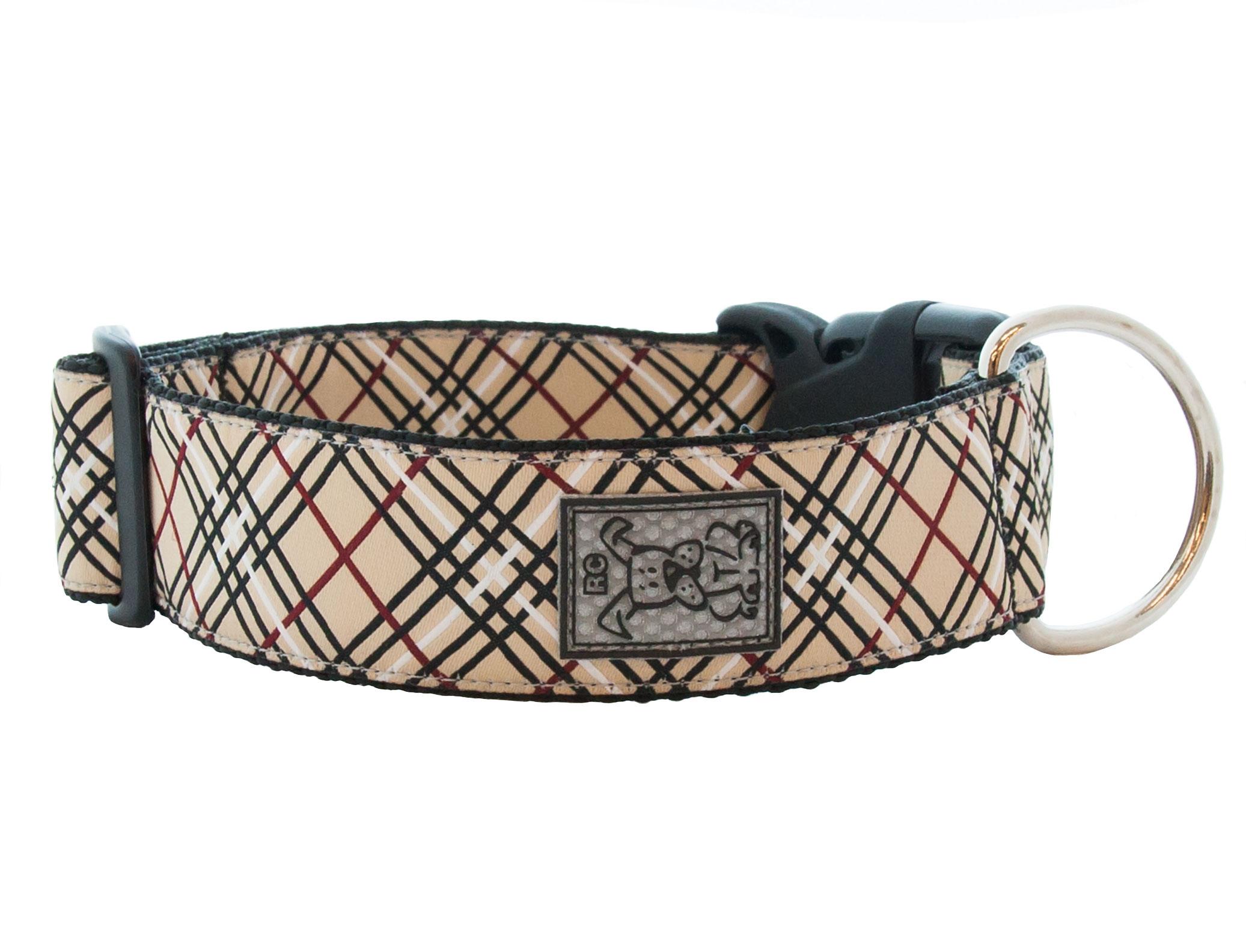 RC Pet Products Wide Clip Dog Collar, Tan Tartan, Medium