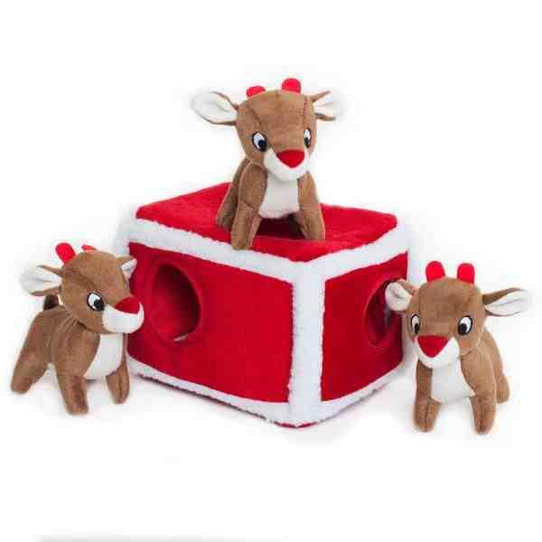 ZippyPaws Holiday Burrow Reindeer Pen Dog Toy