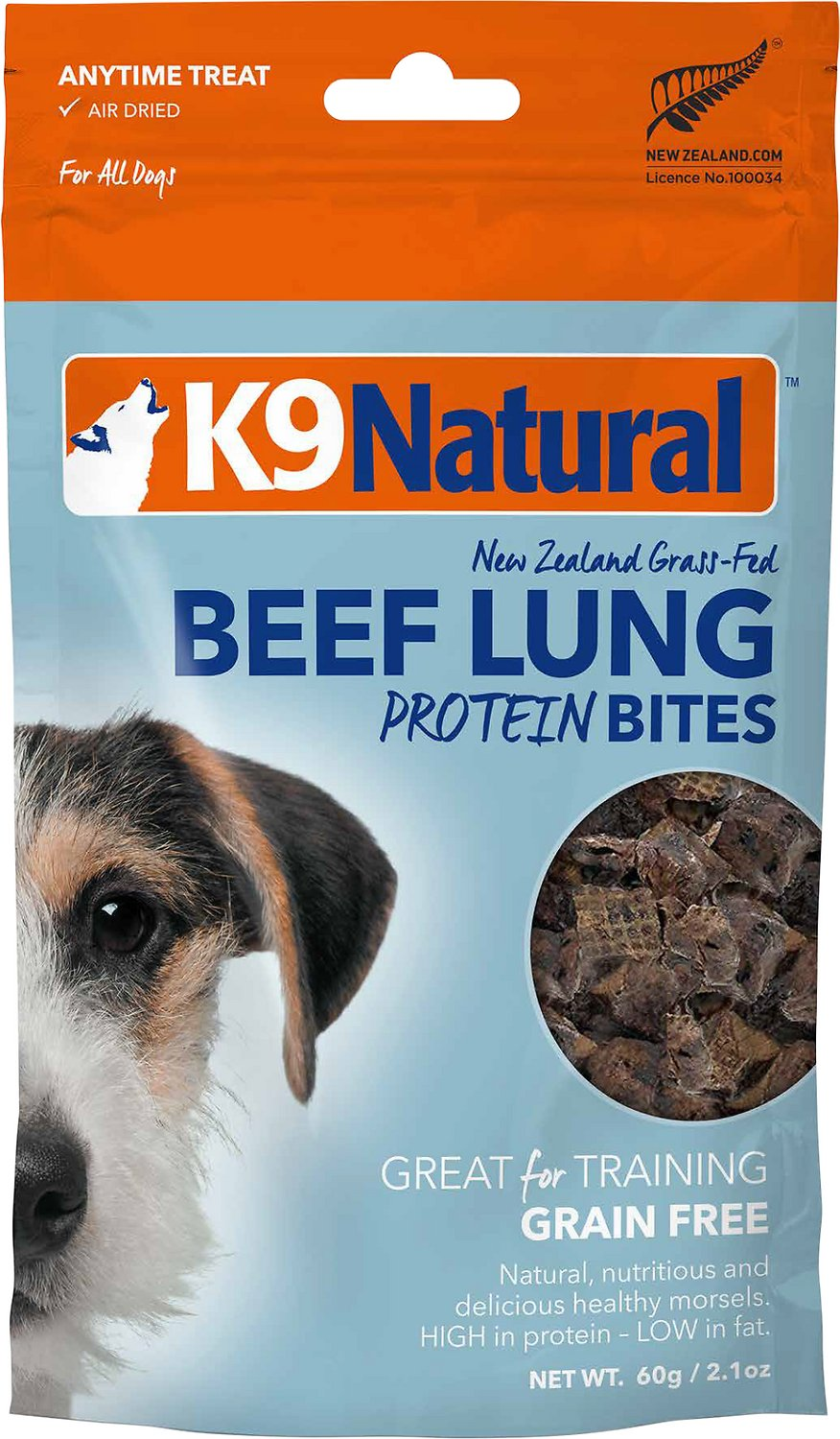 K9 Natural Beef Lung Protein Bites Air-Dried Dog Treats, 2.1-oz