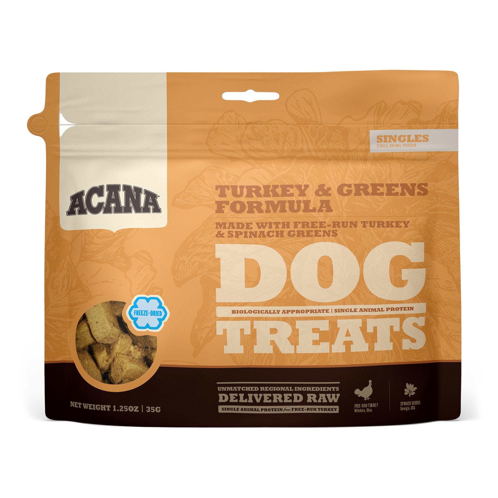 ACANA Singles Turkey & Greens Grain-Free Freeze-Dried Dog Treats, 1.25-oz