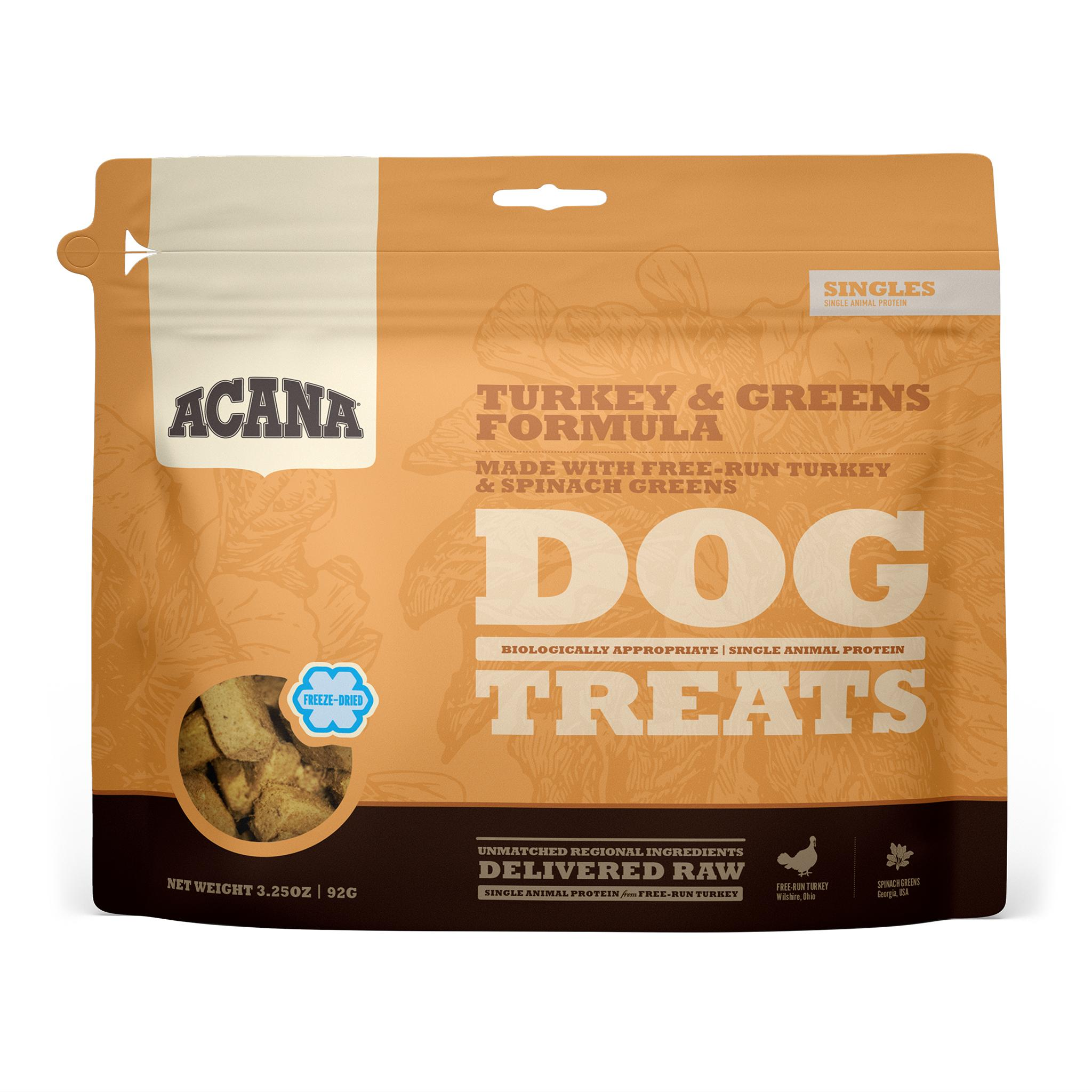 ACANA Singles Turkey & Greens Grain-Free Freeze-Dried Dog Treats, 3.25-oz