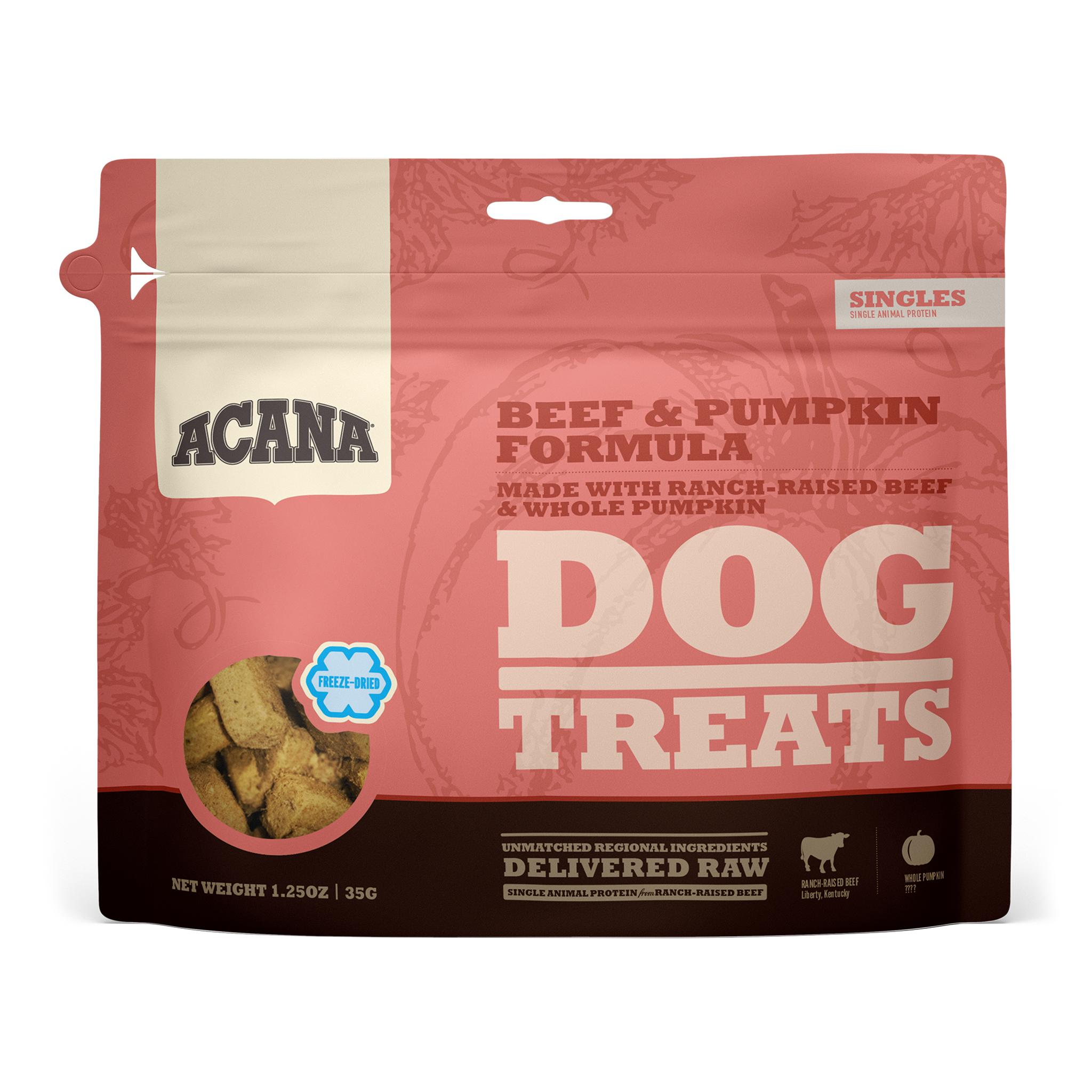 ACANA Singles Beef & Pumpkin Grain-Free Freeze-Dried Dog Treats, 1.25-oz