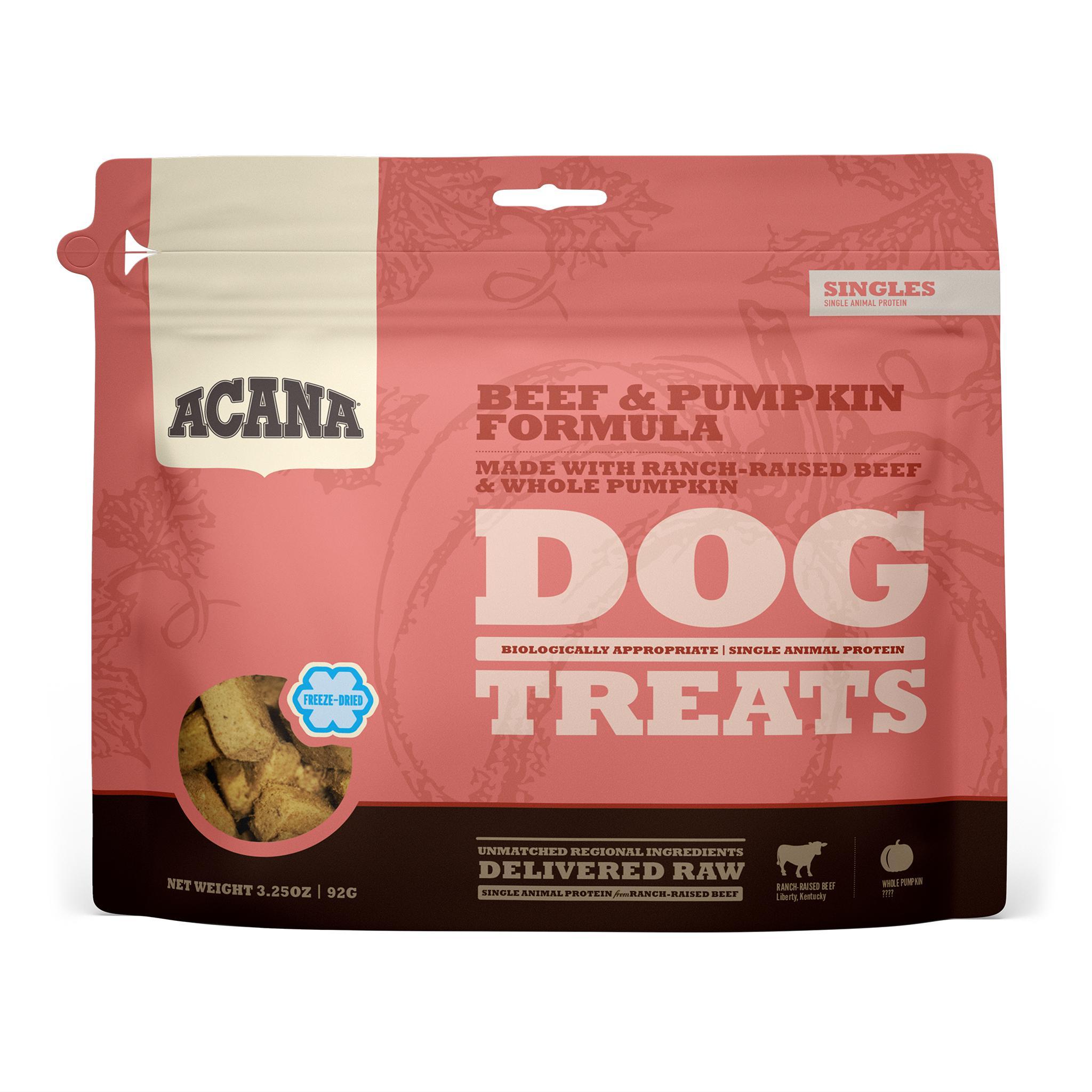 ACANA Singles Beef & Pumpkin Grain-Free Freeze-Dried Dog Treats, 3.25-oz