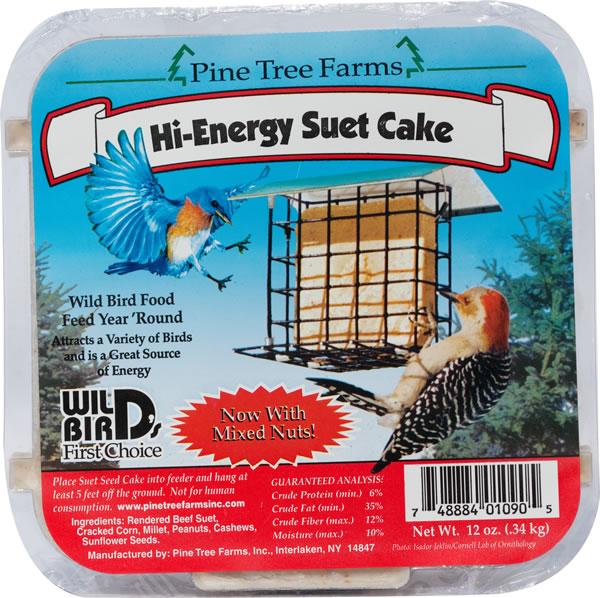 Pine Tree Farms Hi-Energy Suet Cake Wild Bird Food, 12-oz