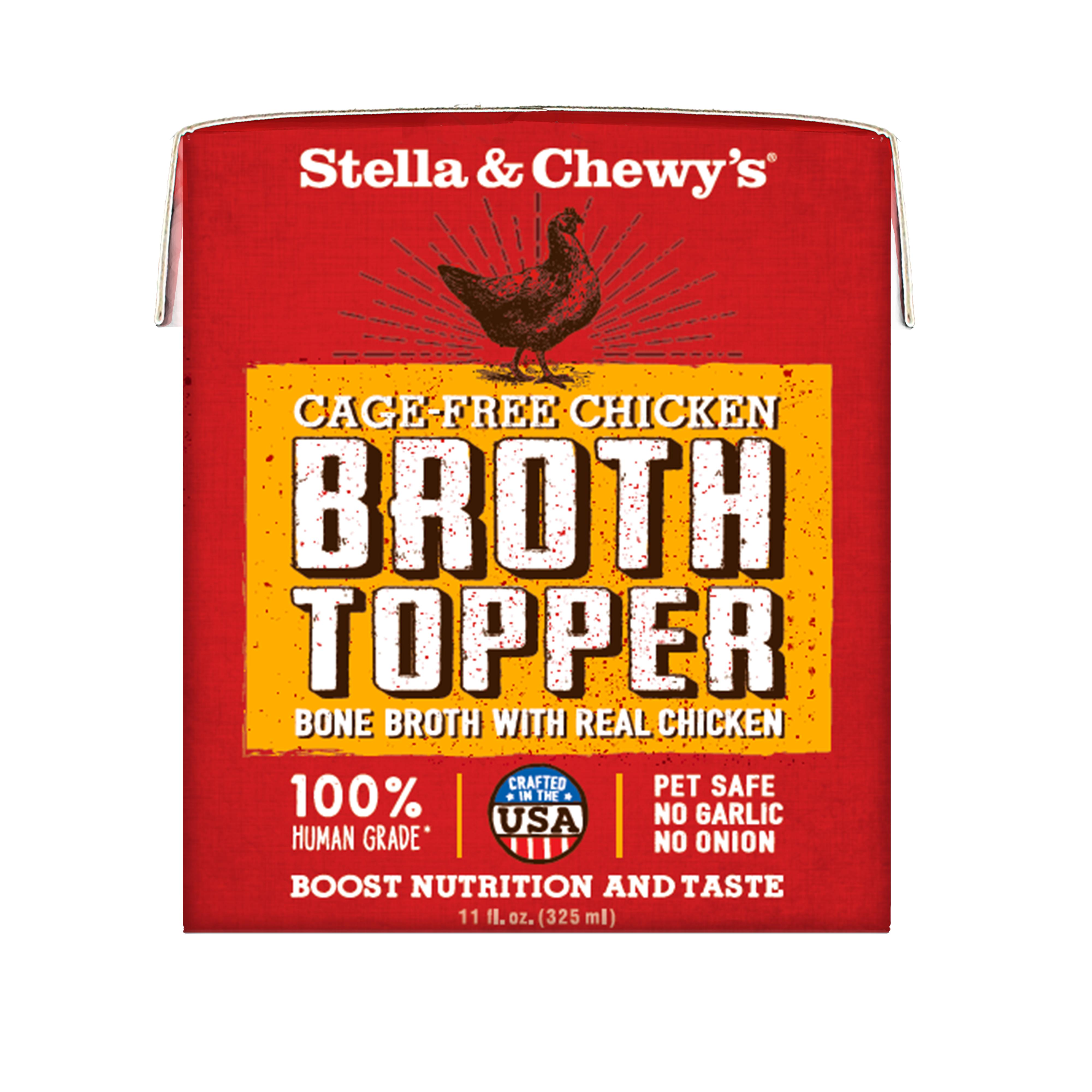 Stella & Chewy's Broth Topper Cage-Free Chicken for Dogs, 11-oz, case of 12