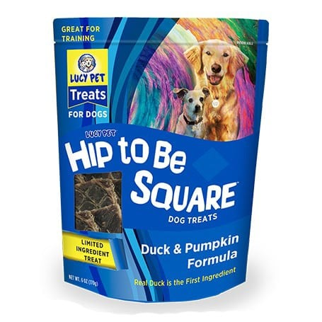 Lucy Pet Hip to be Square Duck & Pumpkin Dog Treats, 6-oz