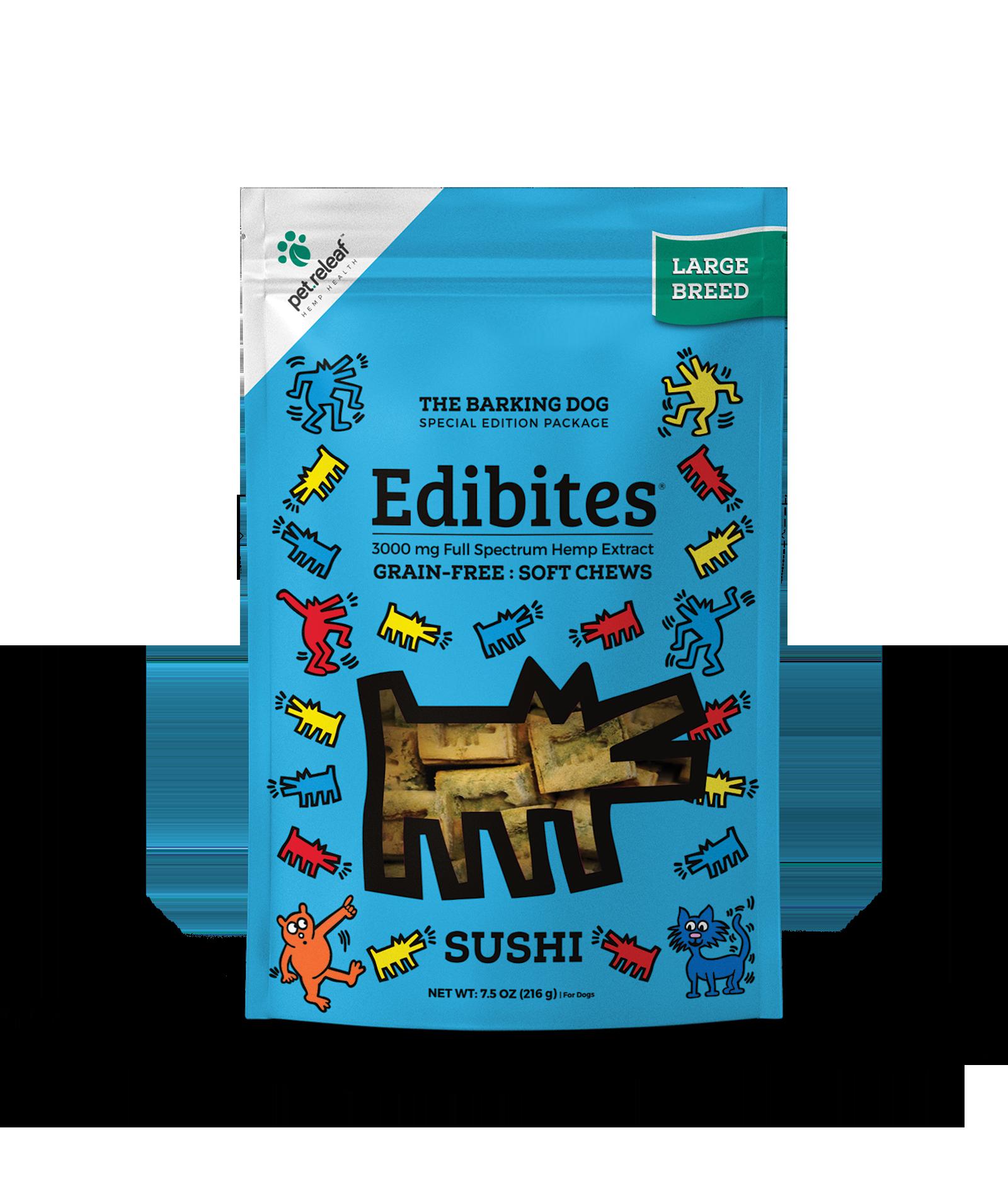Pet Releaf Edibites Soft Chews Sushi Large Breed Dog Supplement, 3000mg, 7.5-oz