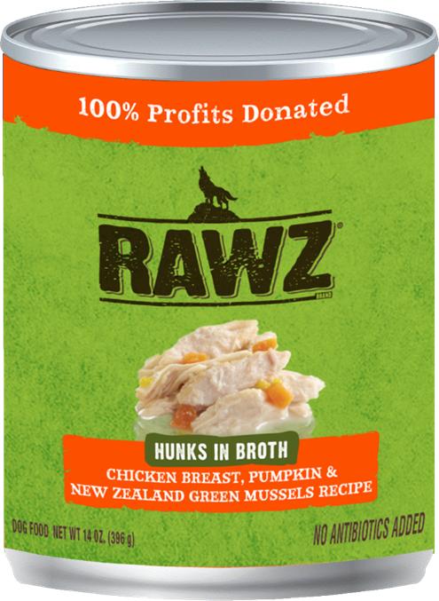 RAWZ Hunks in Broth Chicken Breast, Pumpkin & New Zealand Green Mussels Wet Dog Food, 14-oz
