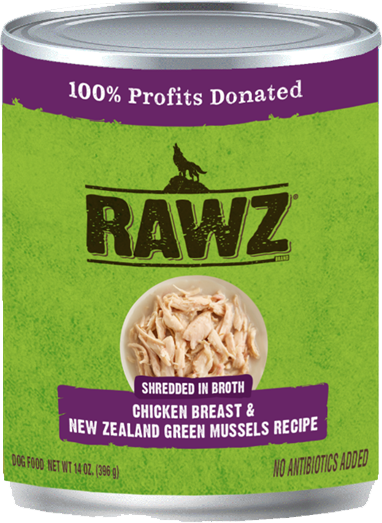 RAWZ Shredded in Broth Chicken Breast & New Zealand Green Mussels Wet Dog Food, 14-oz, case of 12