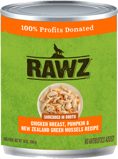 RAWZ Shredded in Broth Chicken Breast, Pumpkin & New Zealand Green Mussels Wet Dog Food, 14-oz, case of 12