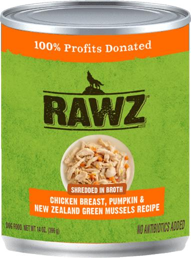 RAWZ Shredded in Broth Chicken Breast, Pumpkin & New Zealand Green Mussels Wet Dog Food, 14-oz